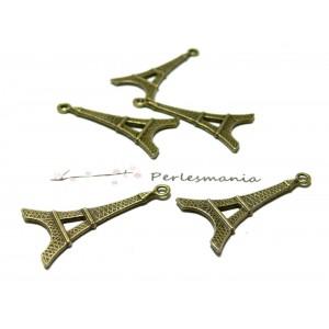 Apprêt bijoux 10 pendentifs 2D1738 Bronze tour Eiffel
