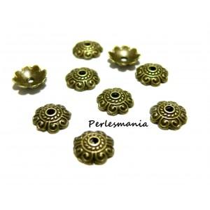 Apprêt et perles 40 pieces 2Y8508 coupelles caps bronze