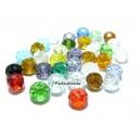 10 rondelles de verre facetté multicolores 6 par 8mm 2J2101