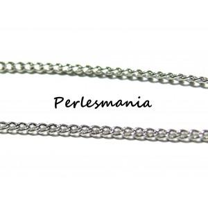 Apprêt bijoux 1 m PP ref CHC010Y Chaine maille fine Argent platine
