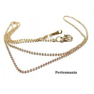 Apprêt bijoux 1 Collier chaine bille fines OR ROSE 1,2mm avec fermoir ref 5