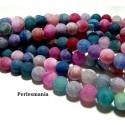 Apprêt bijoux 10 perles 6mm Agate craquelé effet givre multicolore