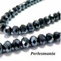 10 perles de rondelles de verre facetté gris foncé 8 par 10mm ref 2J1117