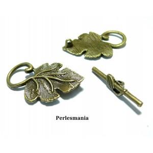 Apprêt bijoux 10 set magnifique fermoirs P2007Y feuille de vigne Bronze