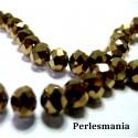 1 fil d'environ 70 perles de cristal facetté bronze 6 par 8mm 2J1311