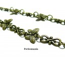 Apprêt bijoux 20 cm  chaine papillon bronze  ref 25