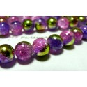 20 perles de verre craquelé 6mm ref P6MMY bicolore vert anis violet