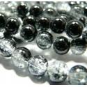 Offre spéciale: 1 fil environ 130 perles de verre craquelé bicolore noir et blanc 6mm