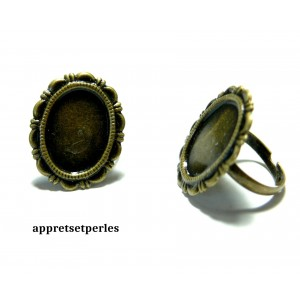 Apprêt bijoux 1 bague rétro plate 13 par 18mm Bronze 21738