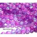 Offre spéciale: 1 fil environ 100 perles de verre craquelé bicolore rose et violet 8mm