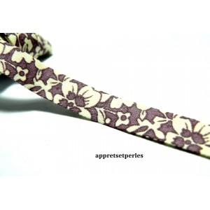 1 m ruban biais liberty double 10mm ref 216 fleuri violet