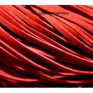 10 mètres de cordon plat en faux daim suédine rouge 001Y-20