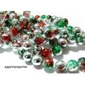 10 perles de verre craquelé 10mm ref PKL313 tricolore vert rouge argent