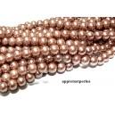 OFFRE SPECIALE: 1 fil environ 110 perles de verre nacré café au lait 8mm ref 2G5516