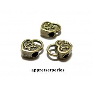Apprêt 10 perles bélières pendentif intercalaire 2D4405 coeur avec attache Bronze