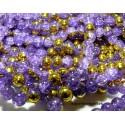 Offre spéciale: 1 fil environ 145 perles de verre craquelé bicolore violet et or 6mm PKL315