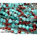Offre spéciale: 1 fil environ 145 perles de verre craquelé bicolore Bleu et rouge 6mm PKL314