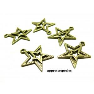 Apprêt bijoux 10 pendentifs 2Y7803 duo étoiles Bronze