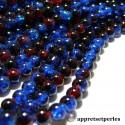 Offre spéciale: 1 fil environ 145 perles de verre craquelé bicolore Bleu nuit et rouge 6mm PA57