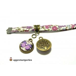 Apprêt bijoux 1 pendentifs papillon rose violet et arbre ref PR112 Bronze