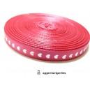 Mercerie: 10 mètres Ref23 ruban rose fushia coeur 10mm