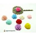 10 cabochons Résine ref 3458 Fleur mulit color 14x14x7mm