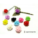 OFFRE SPECIALE: 40 cabochons Résine  ref PB3335 Fleur mulit color 14x13x10mm