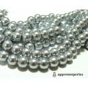 Offre spéciale : 1 fil environ 210 perles de verre nacre gris Moyen 4mm ref 97