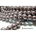 Offre spéciale : 1 fil environ 140 perles de verre nacre vieux rose foncé 6mm ref B27