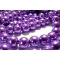 Offre spéciale : 1 fil environ 85 perles de verre nacre vieux violet 10mm ref B15