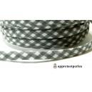 Apprêt 50cm ruban cordon spaghetti 7mm ref FFcollection 502 vichy gris foncé