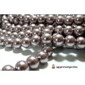 20 perles de verre nacre vieux rose foncé 10mm ref B27