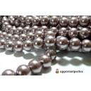 40 perles de verre nacre vieux rose foncé 6mm ref B27
