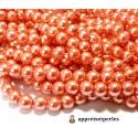 40 perles de verre nacre orange saumon 6mm ref B85