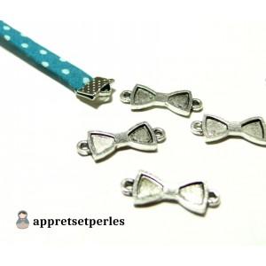 Apprêt bijoux 10 pendentifs connecteur noeuds ref 2K9456 Vieil argent