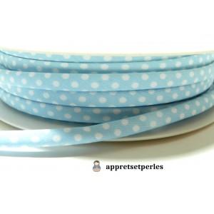 Apprêt 50 cm ruban cordon spaghetti 7mm ref FFcollection 4046-8 bleu ciel