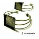Apprêt 1 bracelet   carré double 25mm  bronze pour image collage digitale