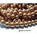Offre spéciale : 1 fil environ 110 perles de verre nacre bronze doré 8mm ref PB48