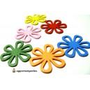 Apprêt et perles 6 grands pendentifs ref PTB408Y Fleurs Bois