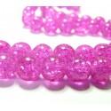 Perles et apprêts: 30 perles 8mm de verre craquelé rose fushia