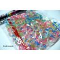 SACHET DE 130 ELASTIQUES POUR RAINBOW LOOM Bicolore translucide et accessoires