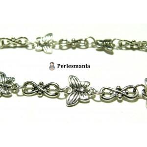 Apprêt pour bijoux: 20 cm maille chaine papillon viel argent ref 25
