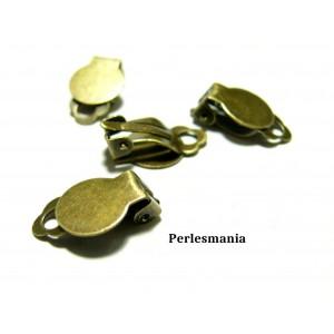 Apprêt et perles: 10 support de Boucle d'oreille clips bronze PQA2216
