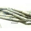 Apprêt et perles: 10 tubes Howlite blanc marbré en 4 par 13mm