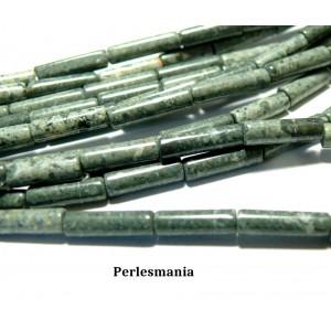Apprêt et perles: 10 tubes Jaspe verte en 4 par 13mm