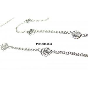Apprêt pour bijoux: 1m PP chaine dentelle fleur ref 595