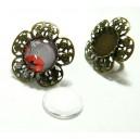 2 pièces: 1 bague fleur  2M6202 pour cabochon en 20mm Bronze et 1 cab