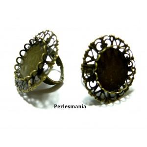 Apprêt bijoux: 1 bague dentelle rétro 2M6364 pour cabochon en 20mm Bronze