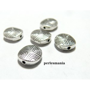 Apprêts et perles: 5 perles ovale intercalaires 2A1440 vieil argent