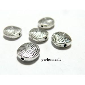 Apprêts et perles: 10 perles ovale intercalaires 2A1440 vieil argent